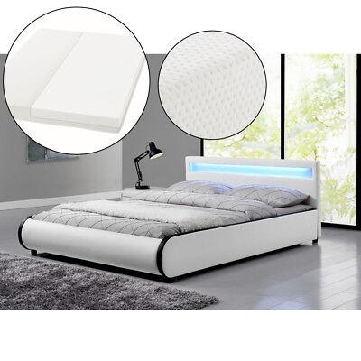 Polsterbett Doppelbett Kunstleder Bettgestell Matratze 140x200cm LED ArtLife®