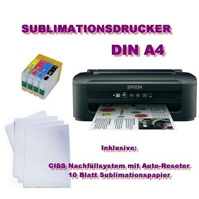 NEU Sublimationsdrucker Sublimation Textil Drucker Din A4 mini CISS 200ml Tinte
