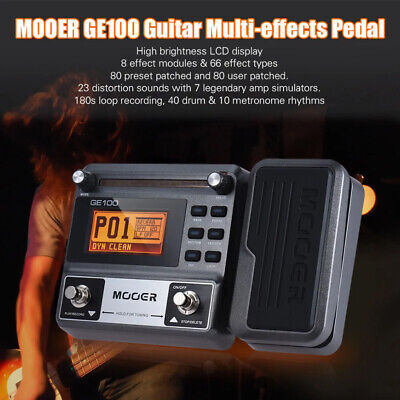 MOOER GE100 Multi-Effects Guitar Effect Pedal Processors 66 Effect Looper Drum