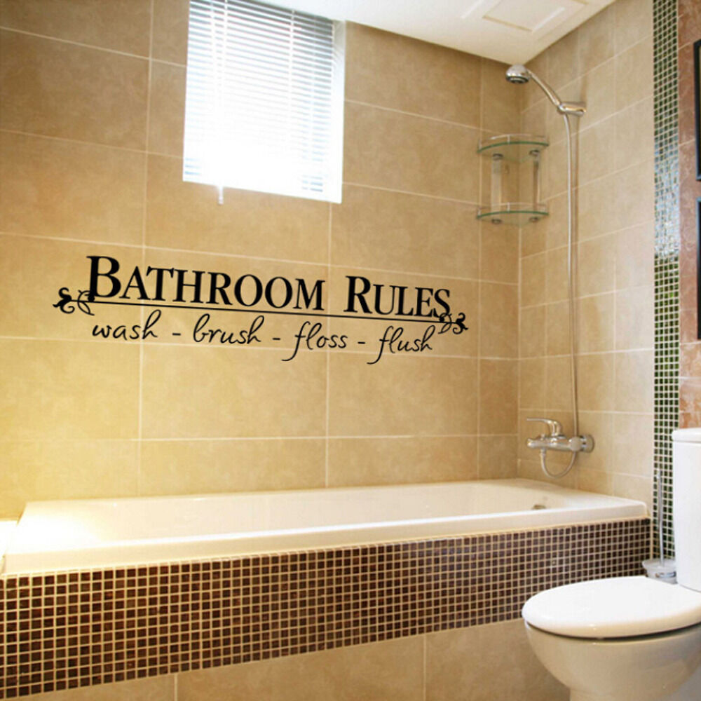 BATHROOM RULES Quote Wall Decals Bath Room Stickers Vinyl