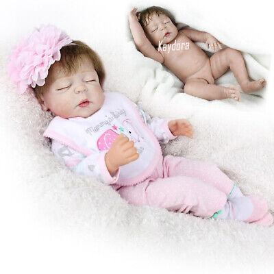 "22"" Full Body Vinyl Silicone Reborn Dolls Lifelike Baby Girl Newborn Doll Gifts"
