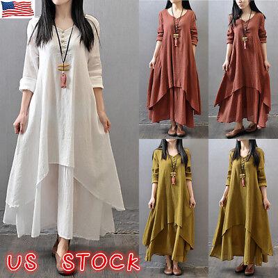 US Women Cotton Linen Maxi Dress Long Sleeve Casual Boho Kaftan Tunic Plus - Linen Long Dress