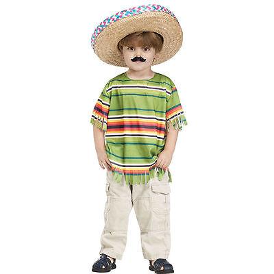 Mexican Serape Set Toddler Little Amigo by Fun World 3-4T, 4-6 with Sombrero!! - 3 Amigos Costume