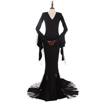 Sexy Morticia Costume Addams Cosplay Dress Black The Addams Family Halloween  (Morticia Addams Costumes)