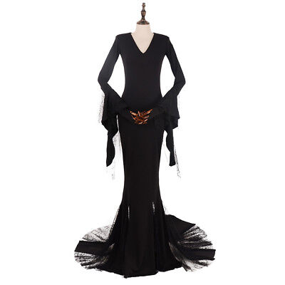 Sexy Morticia Costume Addams Cosplay Dress Black The Addams Family Halloween  - Morticia Addams Dresses