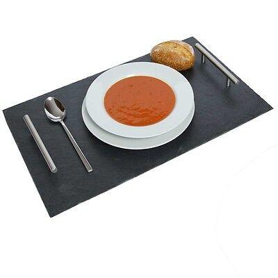Schiefertablett Servierplatte Tischdeko mit Metallgriffen versiegelt ca.53x32cm