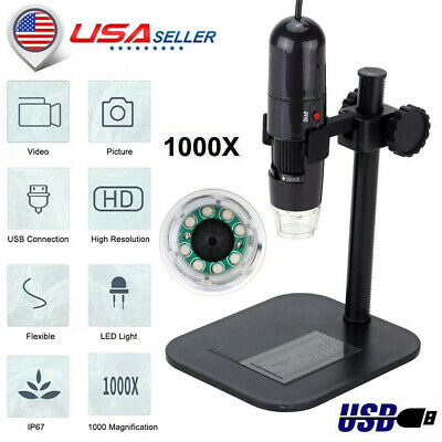 50-1000x 8led Usb Digital Microscope Zoom Endoscope Magnifier 1.3mp Camera T3w7