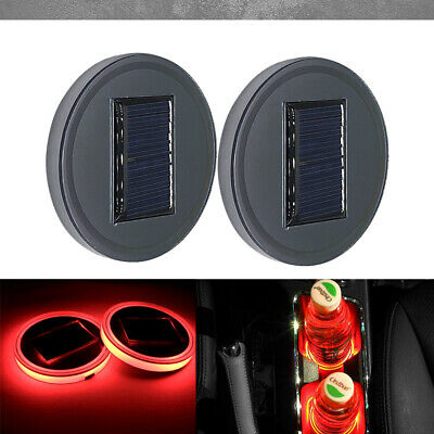 2PC Solar Cup Pad Car Accessories LED Light Cover Interior Decoration Lights RED (Lacrosse Decorations)