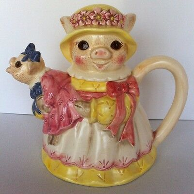 Vintage Hand Painted Takahashi San Francisco Teapot Mother And Baby Pigs
