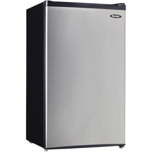 Stainless Steel Compact Fridge w/ Freezer, 3.3 ...