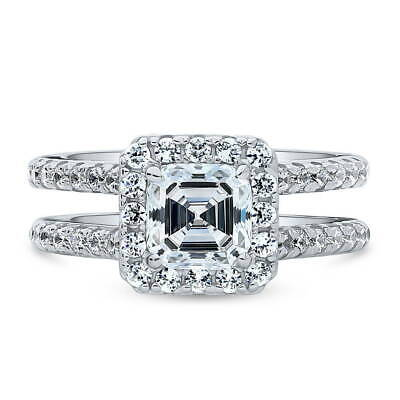 Asscher Cubic Zirconia Ring - BERRICLE Sterling Silver Asscher Cut Cubic Zirconia Halo Engagement Ring 2 CTW