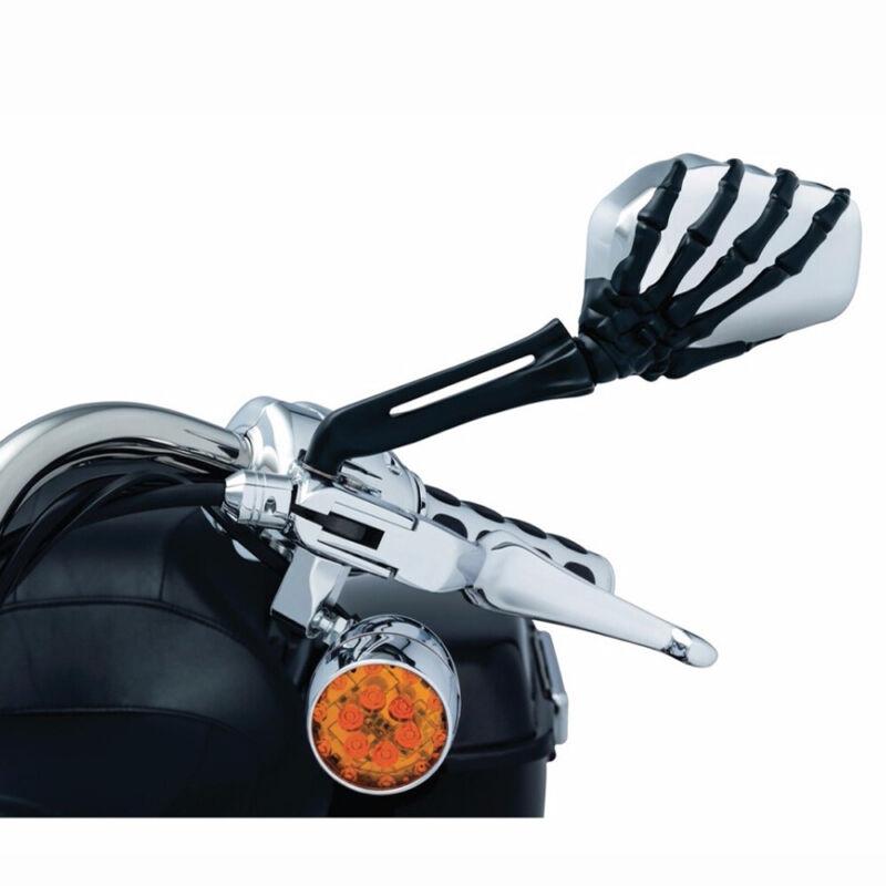 Motorcycle Skull Skeleton Hand Mirrors For Harley Davidson Sport Glide Softail W