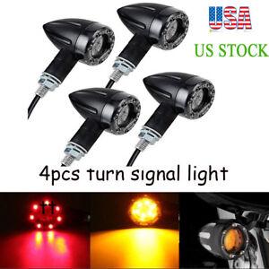 4x Motorcycle 12 LED 3 Wires Turn Signal Blinker Brake Lights Black Bullet USA