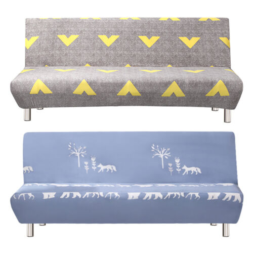Folding Armless Sofa Bed Cover Stretch Chair Couch Futon Sli