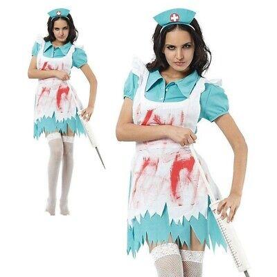 Blutspritzer Damen Krankenschwester Kostüm Halloween Zombie Horror Kostüm - Blaue Krankenschwester Kostüm