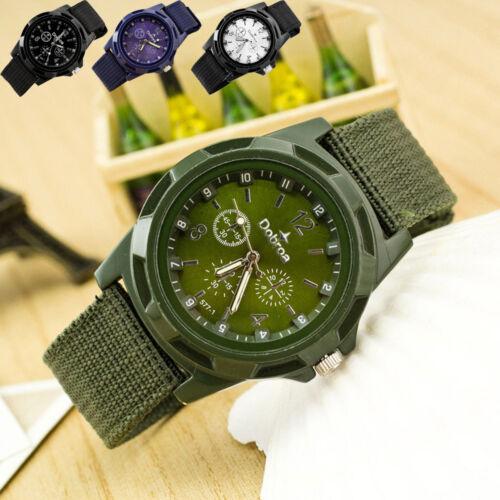 Men's Military Army Sport Braided Canvas Stainless Steel Belt Analog Wrist Watch