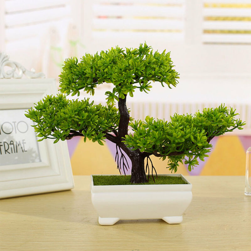 Home Decoration -  Bonsai Simulation Artificial Plants Flowers In Pots Home Office Fake Tree Decor