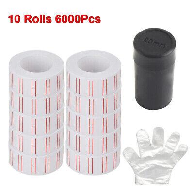 10 Rolls 6000pcs White Price Gun Labels Paper Tag Sticker Refill For Mx-5500