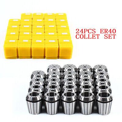 24x Er40 Precision Spring Collet Set Cnc Lathe Tool Workholding 14 18 12