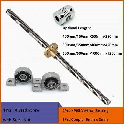 L100-1200mm 8mm/2mm T8 Lead Screw + Copper Nut + Coupler + Pillow Bearing Block