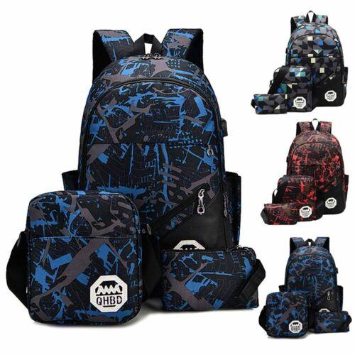 Men Women USB Port Backpack Laptop Travel Shoulder School Bo