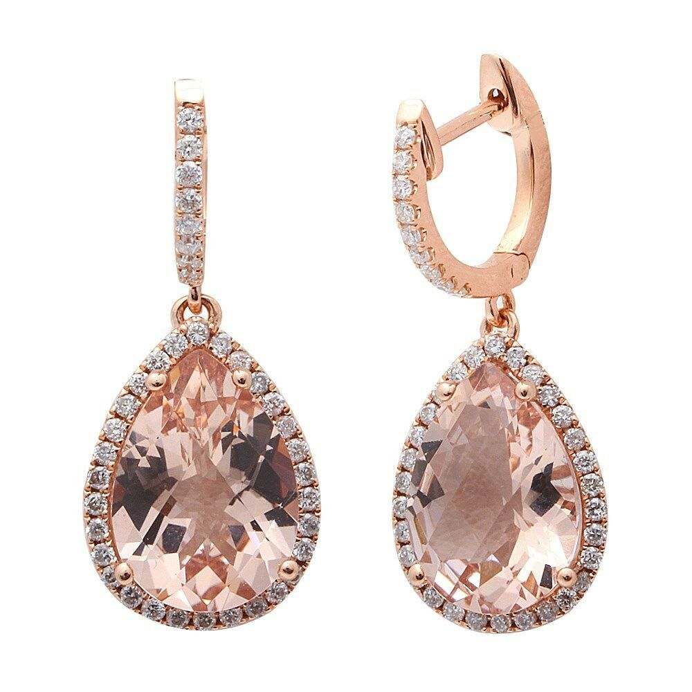 4 78ct F Vs Morganite Amp Diamond Drop Dangle Halo Style