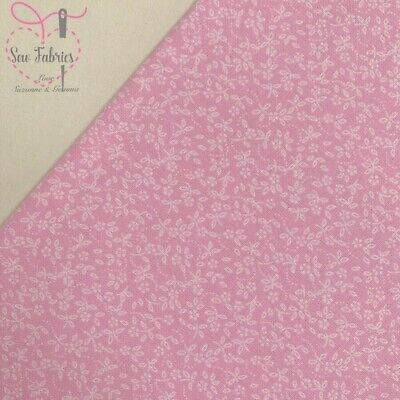 Candy Pink 100% Craft Cotton Ditsy Daisy Floral Fabric, Suitable for Craft, Quil