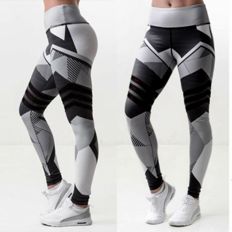 Damen Hohe Taille Leggings Sports Yoga Hose Training Fitness Stretch Jogginghose