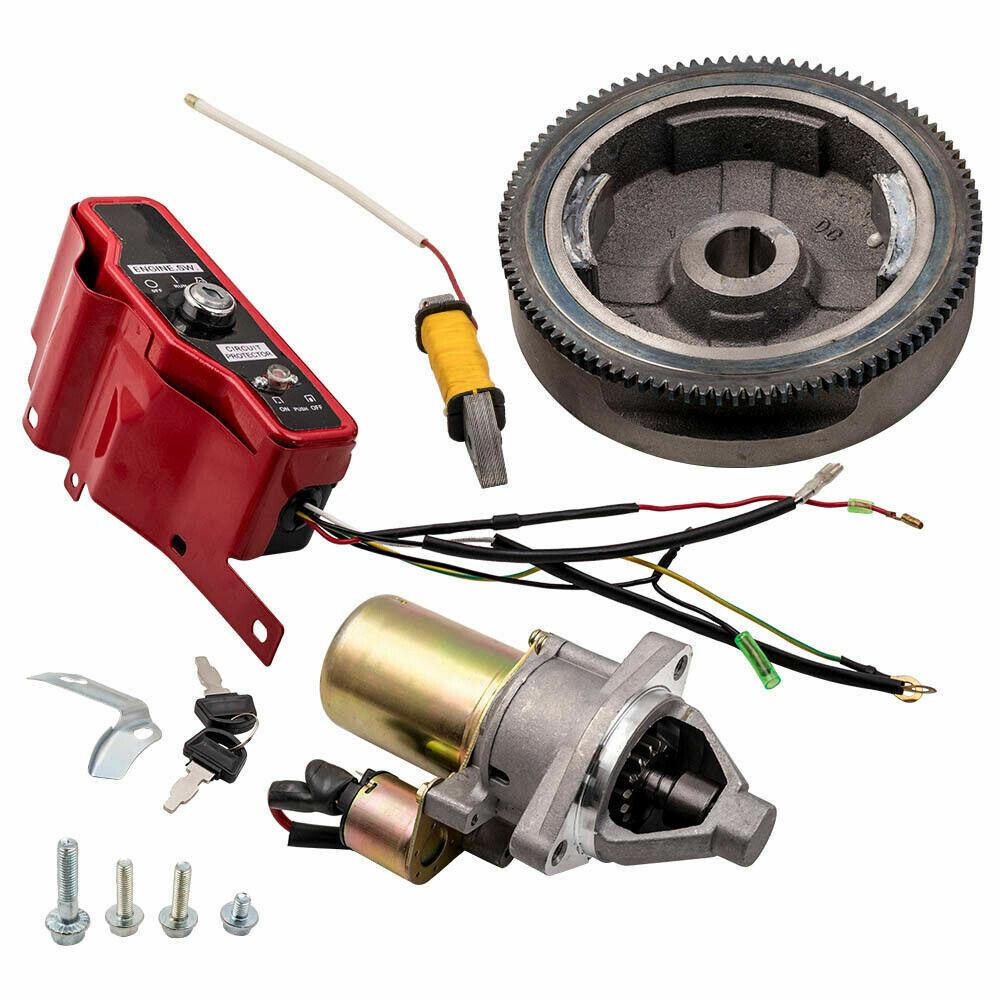 New For Honda Gx340 Gx390 Electric Start Kit Starter Motor Flywheel Switch Ebay
