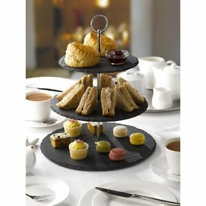 3 Tier Natural Slate Cake Stand Afternoon Tea Wedding Plates Party Tableware  sc 1 st  eBay & Afternoon Tea Stand   eBay