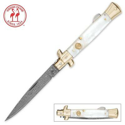 Kissing Crane Genuine Pearl Handle & Damascus Blade Stiletto Knife NEW - KC5479