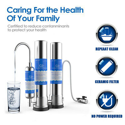 Countertop Stainless Steel Drinking Water Faucet Purifier Ceramic Filter -
