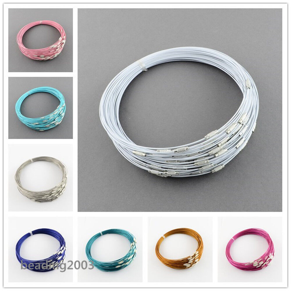 10 MEMORY WIRE NECKLACE CHOKERS /& CLASP 10 COLOUR CHOICE