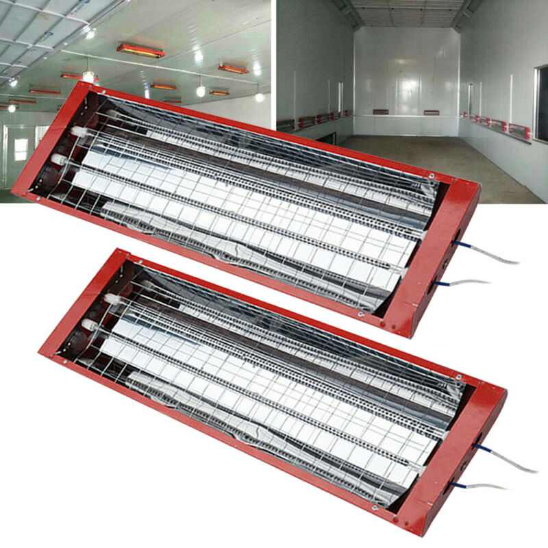 2PCs Spray Booth 2kW Baking Infrared Paint Curing Lamp Auto Heater Heating Light