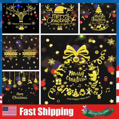 Christmas Stickers Vinyl Window Decor Xmas Gold Decal Snowflakes Elk Wall Art Decals, Stickers & Vinyl Art