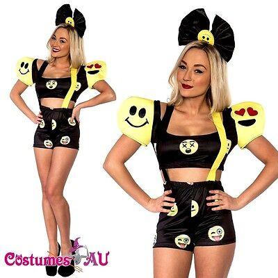 Ladies Happy Face Emoji Dress Halloween Party Fancy Dress Costume Outfit - Halloween Costume Emojis