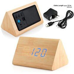 Clock Radios Modern Triangle Wood LED Wooden Alarm Digital Desk Thermometer 2016