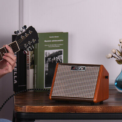 AROMA AG-15A Acoustic Guitar Amplifier Portable Amp Rechargeable Battery P4I9