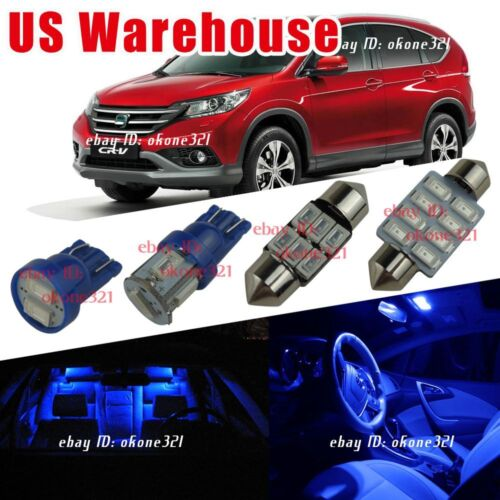 8x Pure Deep Blue LED Car Light Interior Package Map Dome Kit For 13 Honda CR-V
