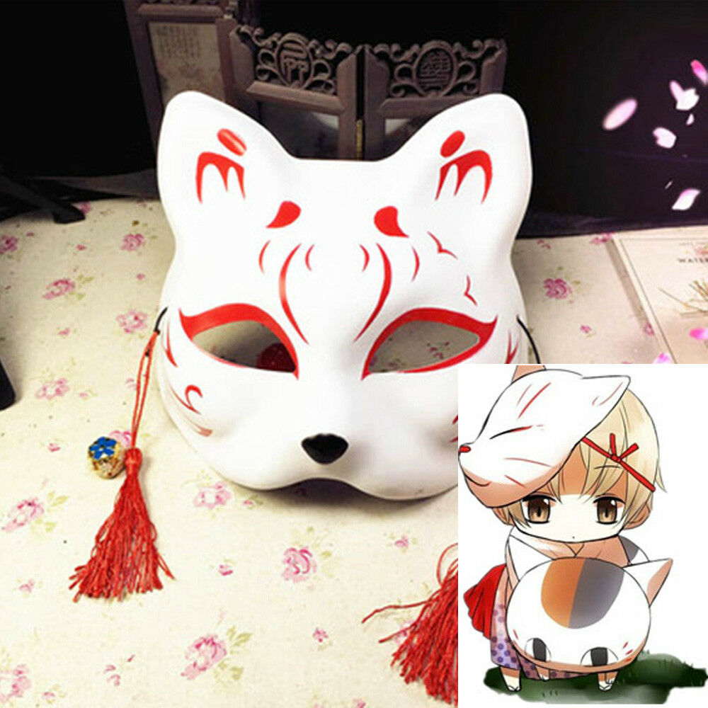 Half Face Fox Mask Japanese Anime Hand-painted Kitsune Halloween Cosplay Mask