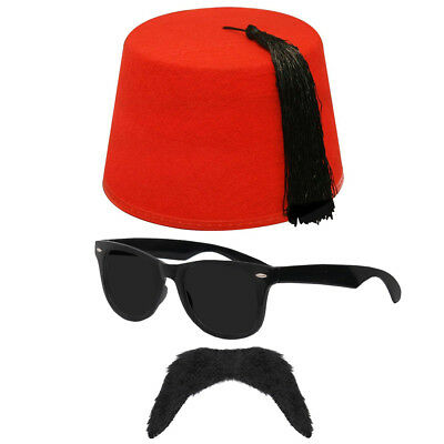 ADULTS ARAB 3 PIECE SET FEZ KUKI MUSTAF RUSSIAN 70'S SPY FANCY DRESS ARABIAN KIT