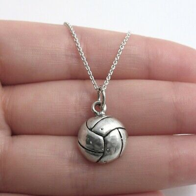 925 Sterling Silver Volleyball Charm with Necklace](Volleyball Charm)