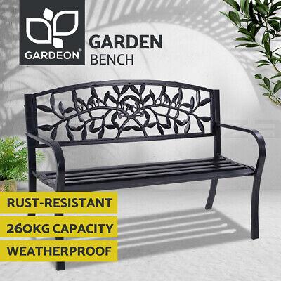 Garden Furniture - Gardeon Garden Bench Seat Chair Steel Outdoor Furniture Lounge Patio Park Black