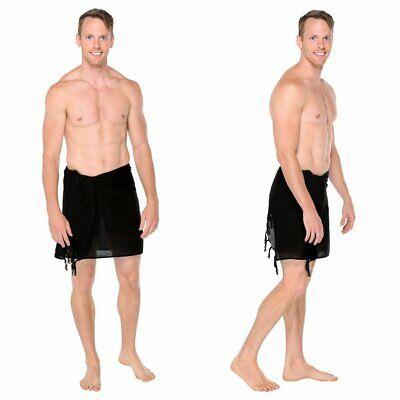 Men Sarong, 1 World Sarongs Mens Black Half Short Mini Solid Sarong - LavaLava
