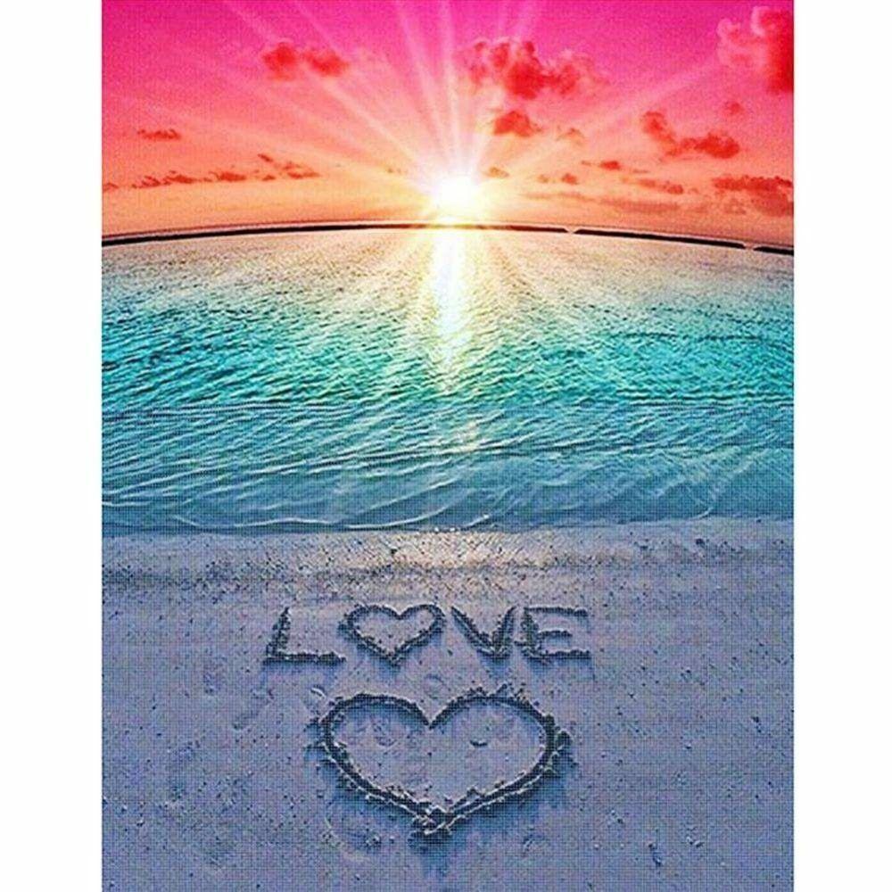 24x34cm Love Heart Full Square Diamond Painting Cross Stitch Beach Scenery Diamond Embroidery Seaside squareDiamond Mosaic Sunset Flowers