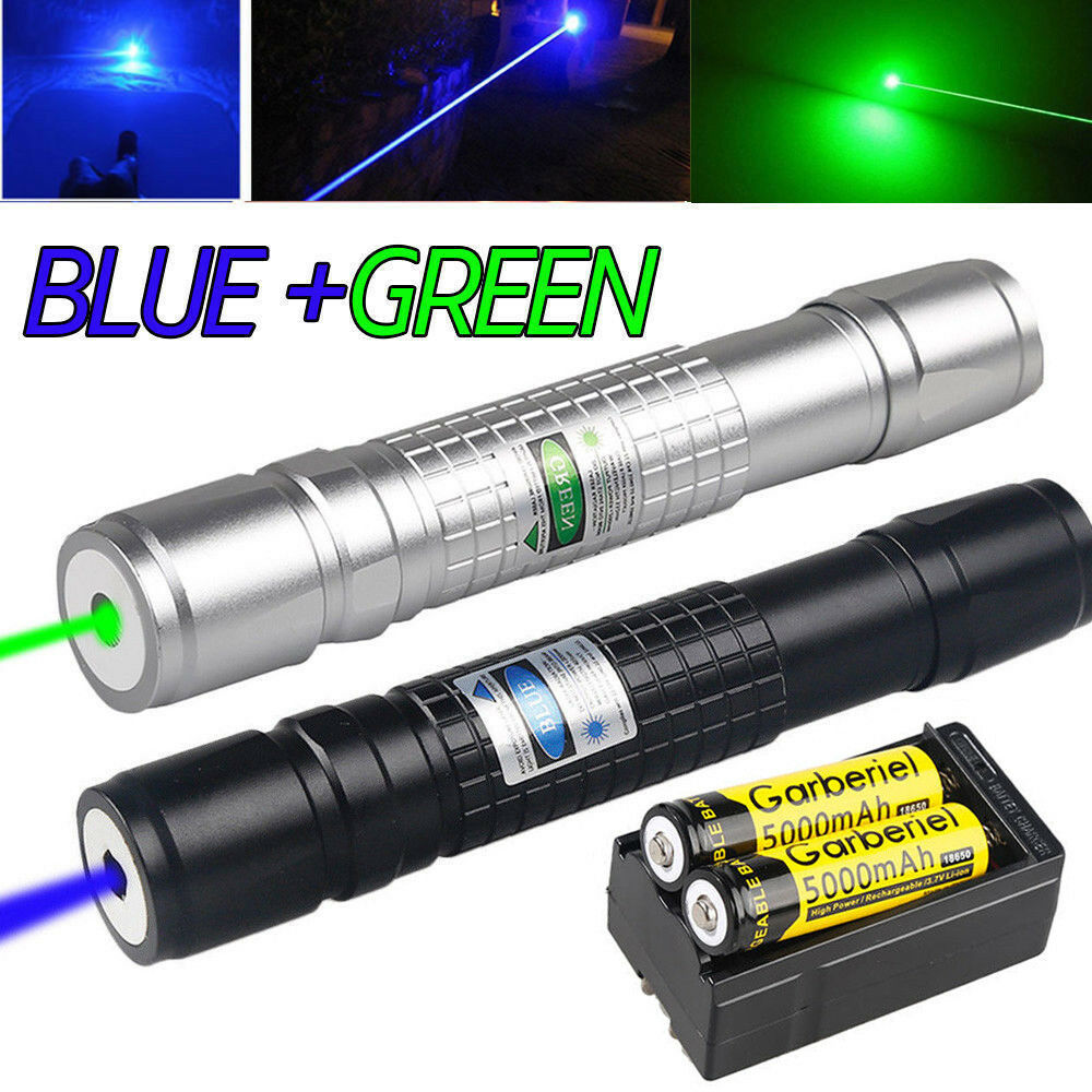20Miles Green&Blue 1MW Laser Pointer Pen Visible Light Zoom Lazer&Battery&Charge