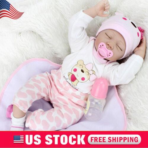 22''Vinyl Silicone Reborn Newborn Dolls Handmade Lifelike Baby Girl Doll+Clothes