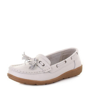 WOMENS-FLAT-COMFORT-LEATHER-LOAFERS-CASUAL-BOAT-SHOES-LADIES-SIZE-3-8