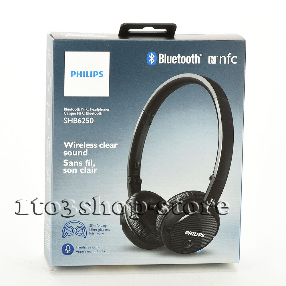 Headphones - Philips SHB6250/27 On-Ear Wireless Bluetooth NFC Headphones Headset w/Mic Black
