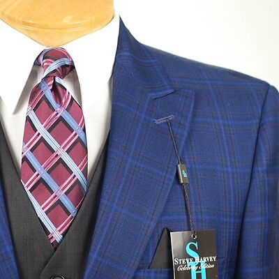 44R STEVE HARVEY Dark Blue Check Coordinated 3 Piece Suit - 44 Regular - SB12 for sale  Spring
